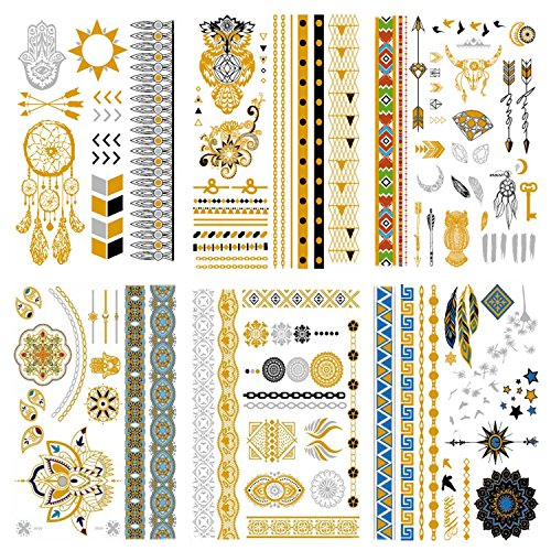 Owl Costumes Diy (COKOHAPPY Premium Metallic Tattoo - 95+ Tattoo Designs in Gold and Silver - Temporary Fake Shimmer Jewelry Tattoo - Mandala, Owl, Diamonds, Bracelets, Arrows, Wrist, Arm Bands and More)