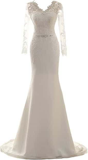 Wedding Dress Long Sleeves Mermaid Bridal Gowns Lace Bride Dresses Wedding Gown with Belt