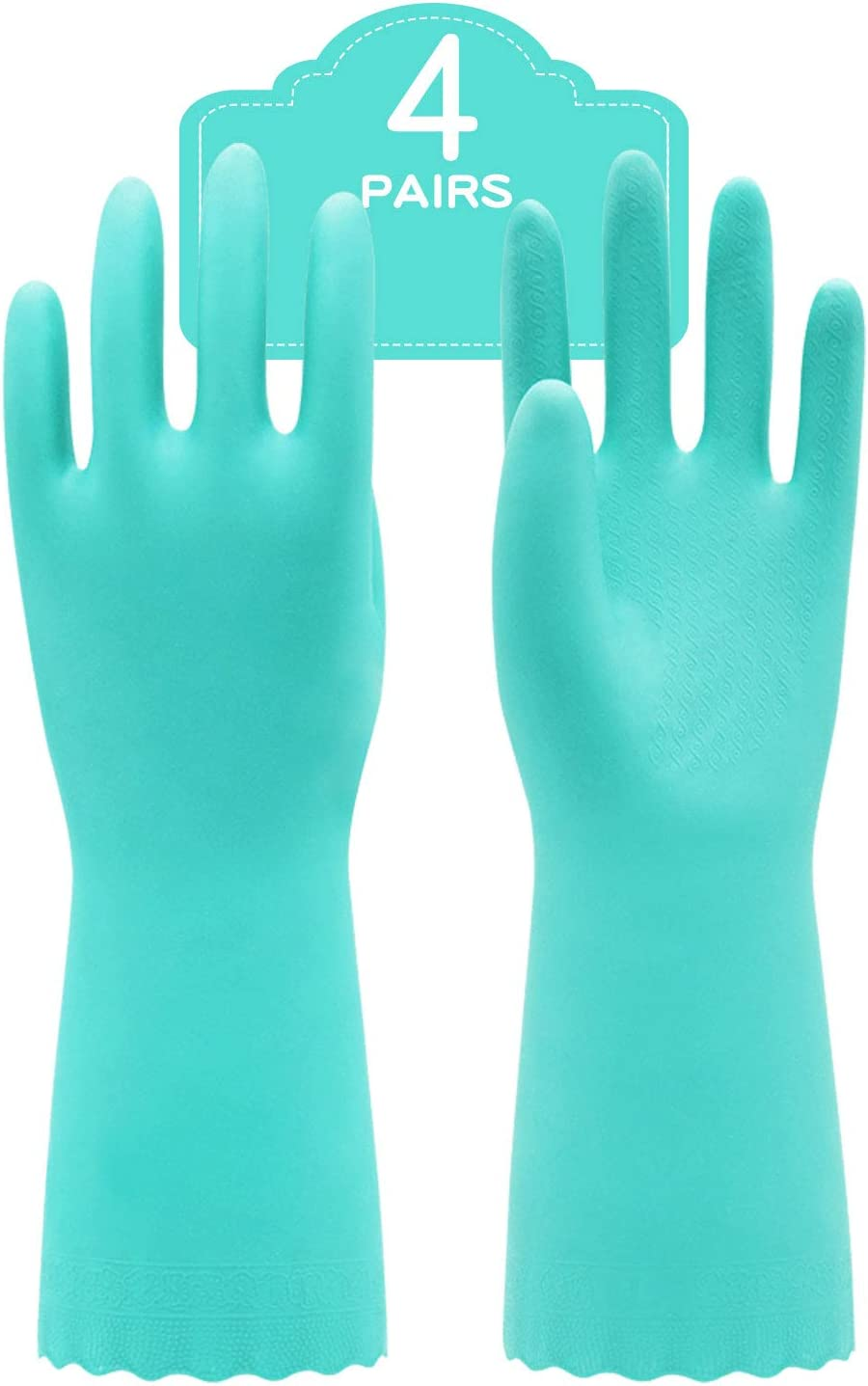 Purple,M Pacific PPE 2Pairs Household Glove Reusable Cleaning Dishwashing Gloves-Latex Free Waterproof PVC Gloves for Kitchen,Gardening Gloves Flocked with Cotton Liner