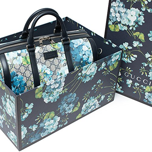 Gucci Blue Small gg Blooms Blossom Duffle Bag Canvas Boston Bag Authentic New - New Gucci Bag