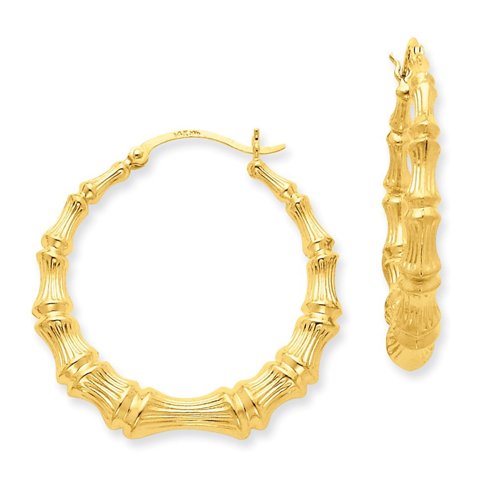 14K Yellow Gold Polished Bamboo Hoop Earrings (27mm Length) by Unknown