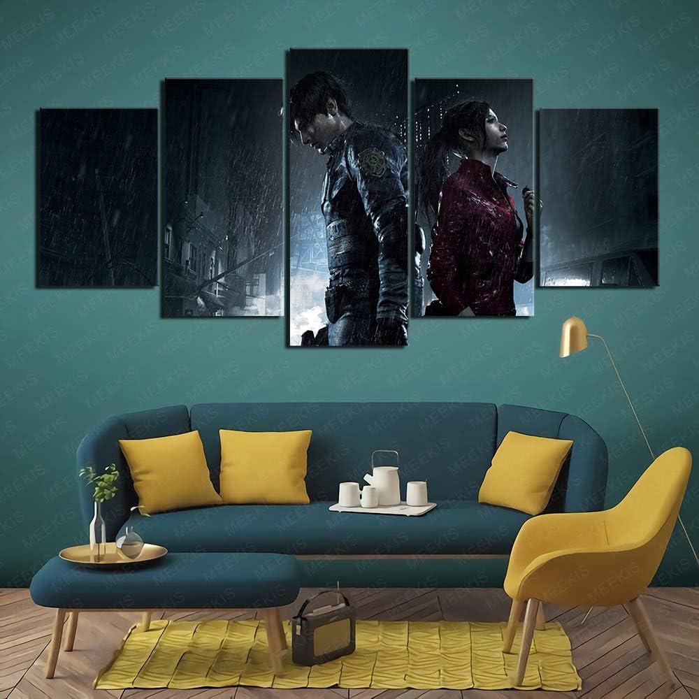 MEEKIS Leinwand gedruckt Poster 5 St/ück Cyberpunk 2077 Spiele Neues Hausgeschenk 100x50cm Rahmenlos