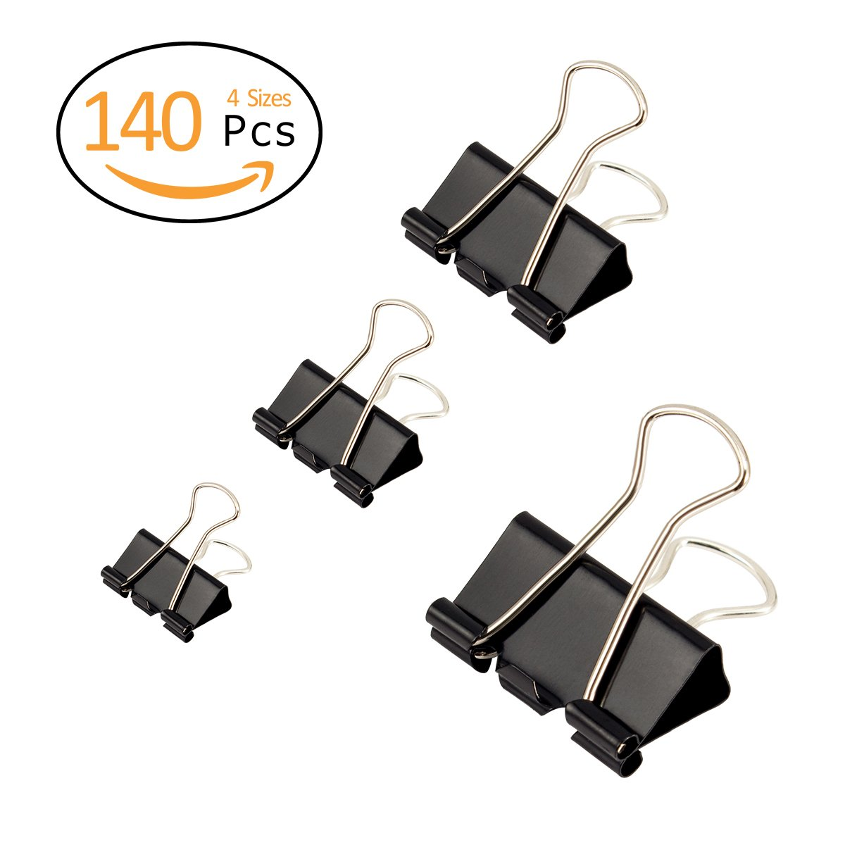 Anphsin 140Pcs Binder Clips Assorted Sizes – Black Paper Clamp School Binders Office Clips (0.6inch, 0.75inch, 1inch, 1.25inch)