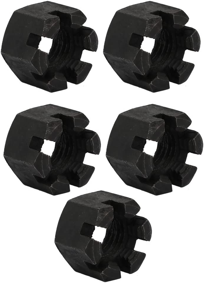 sourcing map 5pz M20x2,5 mm acciaio al carbonio qualit/à 8 esagonale torre scanalato nel dado nero