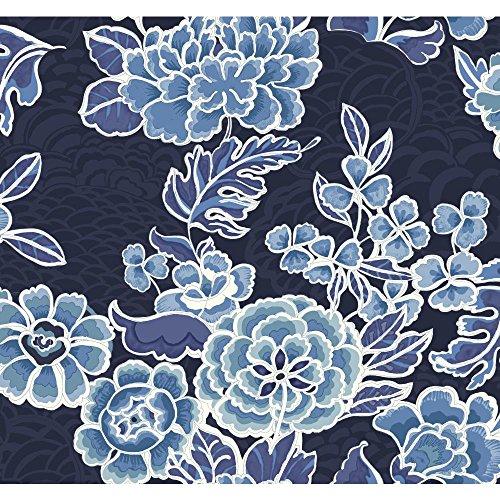 Blue Garden Wallpaper - York Wallcoverings GC8784 Global Chic Zen Garden Wallpaper, Dark Blue Satin, Medium Blue, Light Blue, Aqua