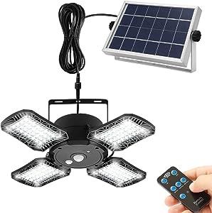 Solar Pendant Light Outdoor/Indoor, 4-Leaf Solar Shed Light Motion Sensor 120° Adjustable Patio Lights with Remote, 128 LED/1000LM IP65 Waterproof, Solar Security Light for Garage Garden Porch