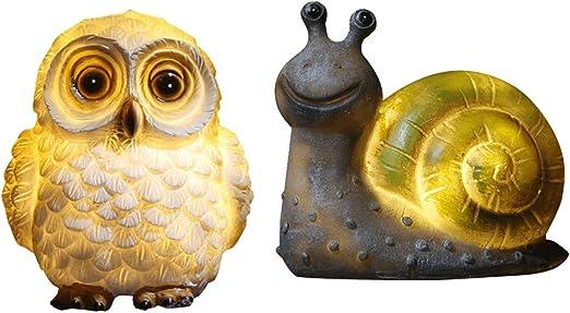 joyMerit 2pcs Resina Caracol Y Búho Animal Luces Jardín Escultura Exterior Paisaje Césped Ornamento: Amazon.es: Jardín