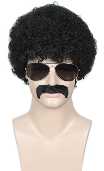 Linfairy Short 80s Costumes Mens Disco Dirt Bag Wig /& Moustache Halloween Cosplay Costume Black Wig