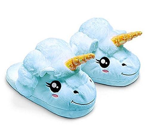Kenmont - Zapatillas de estar por casa y de peluche con forma de unicornio, suaves