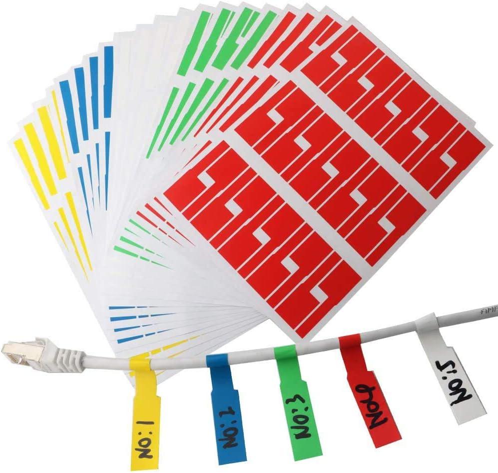 Runcci Yun 600er Selbstklebend Kabeletiketten Uv Beständige Wasserdicht Reißfest Haltbar 5 Farben Sortiert Jeder Farbe 120 Stück Baumarkt