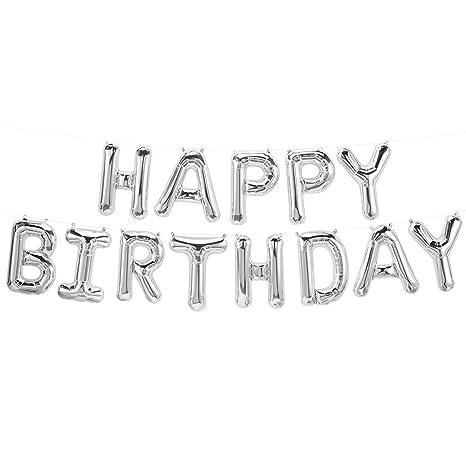 Amazon Mcolour Balloon 16 Inch Silver HAPPY BIRTHDAY Helium