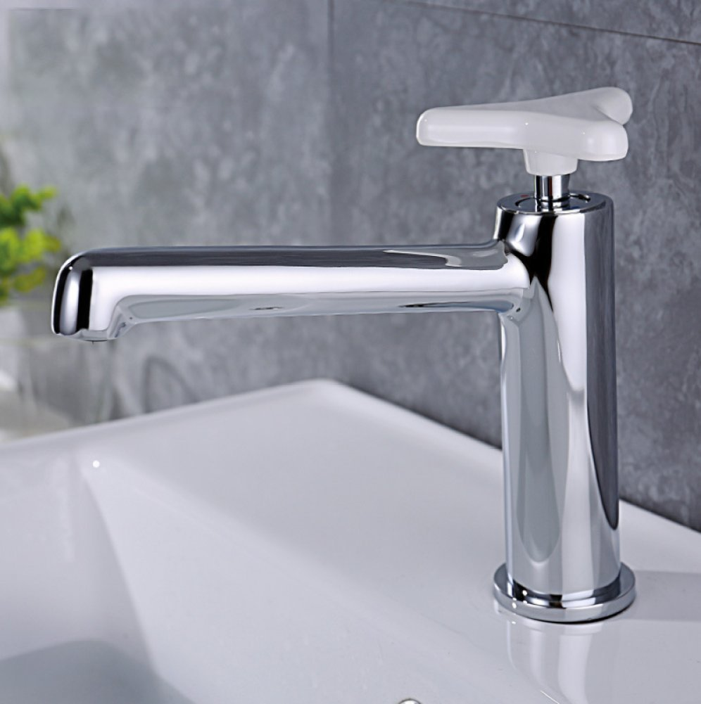 GZF Bathroom Sink Taps Faucet bathroom hotcold copper kitchen hotel white handle single hole basin faucet mixing faucet washbasin faucet