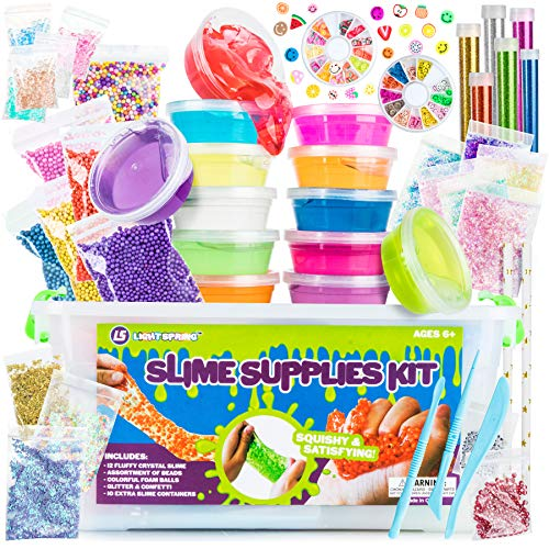 DIY Slime Supplies Kit for Girls Boys -58 Pc Clear Slime Making Kit with Crystal Slime, Foam Balls, Crunchy Fishbowl Beads, Glitter, Stars, Fruit Slices, Emojis, Containers - Kids Slime Kits for Kids