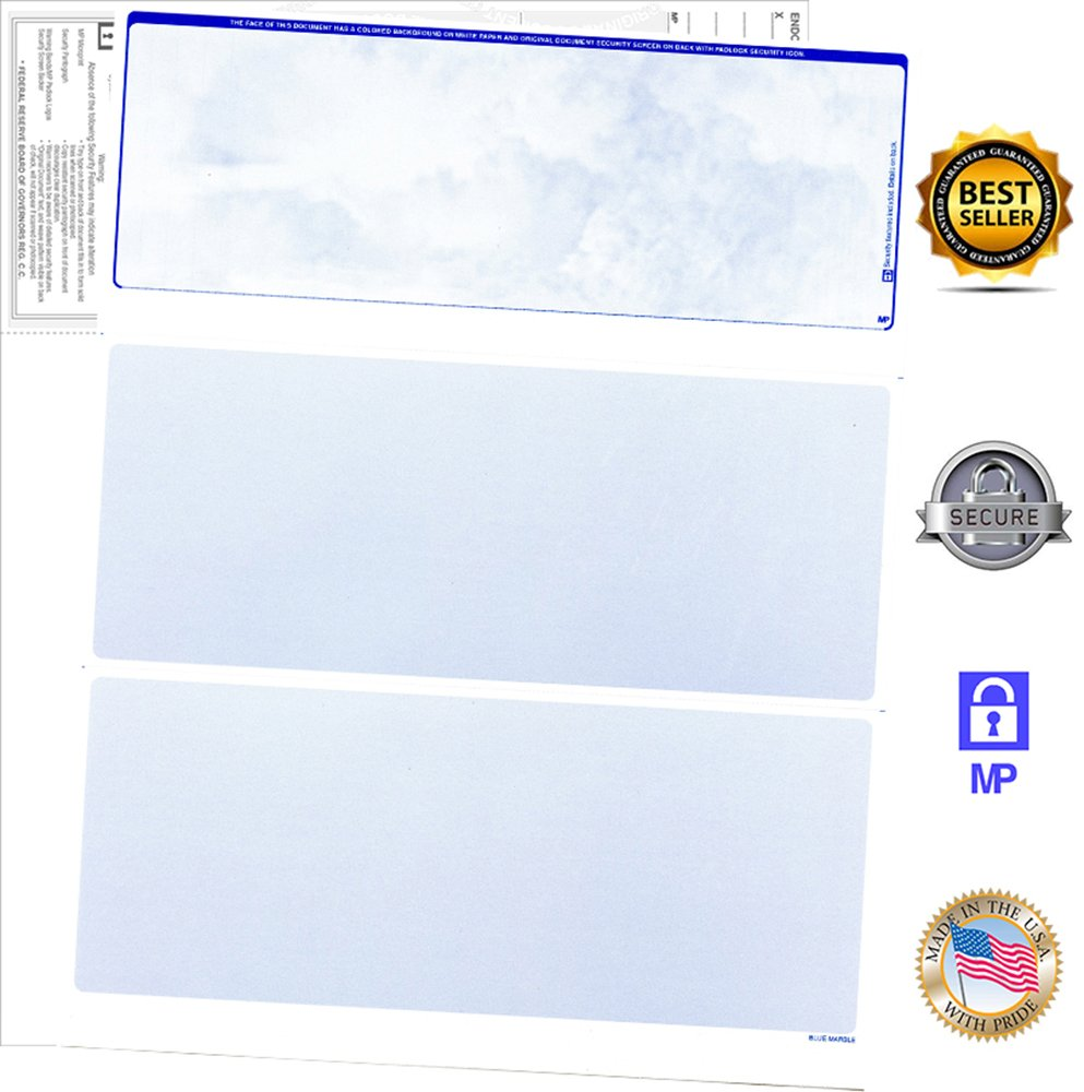 200 Blank Check Stock-Check on Top-Blue Marble Pattern-Compatible with Quickbooks,Quicken,Versacheck and More-(200 Laser Security Sheets-8.5''x11'' #24)-Made in USA with Pride!