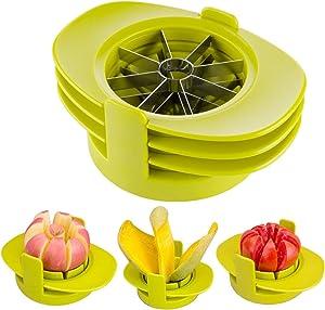 LinkIdea Apple Slicer Cutter Corer Peeler Set, 4-in-1 Stainless Steel Multi-Function Fruit Vegetables Mango Tomato Lemon Pear Orange Slicer Tool with Base (Light Green)
