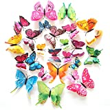 FLY SPRAY Creative 24pcs Vivid Butterfly Special Man-made Colorful Butterflies Decor Double Wings Removable Wall Stickers with Adhesive Decals Nursery Decoration 3D Crafts