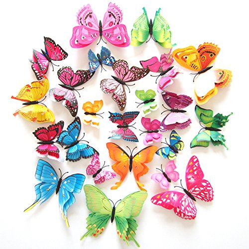 FLY SPRAY Creative 24pcs Vivid Special Man-made Colorful Butterfly Decor Removable Wall Stickers with Adhesive Decals Nursery Decoration 3D Crafts