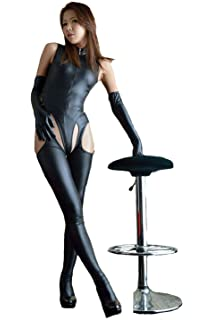9fc68855015 XSQR Sexy Lingerie Women Bodysuit Open Crotch Long Gloves Catsuit Stripper  Latex Faux PU Leather Three Piece…