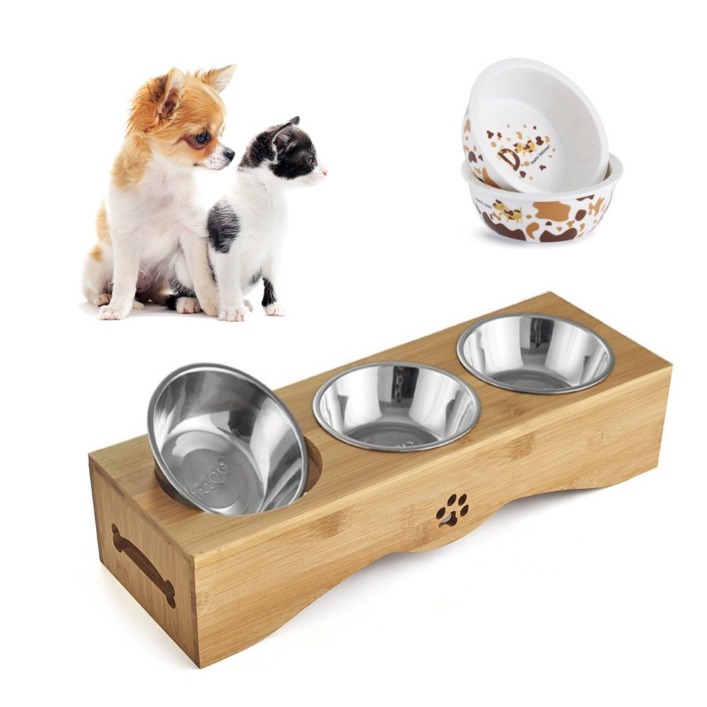 Be Good Pet Feeding Bowls Stainless Steel Food Water Feeder with Non-Slip Raised Bamboo Stand Set of Triple Bowls Best for Small Dog Cat Puppies S