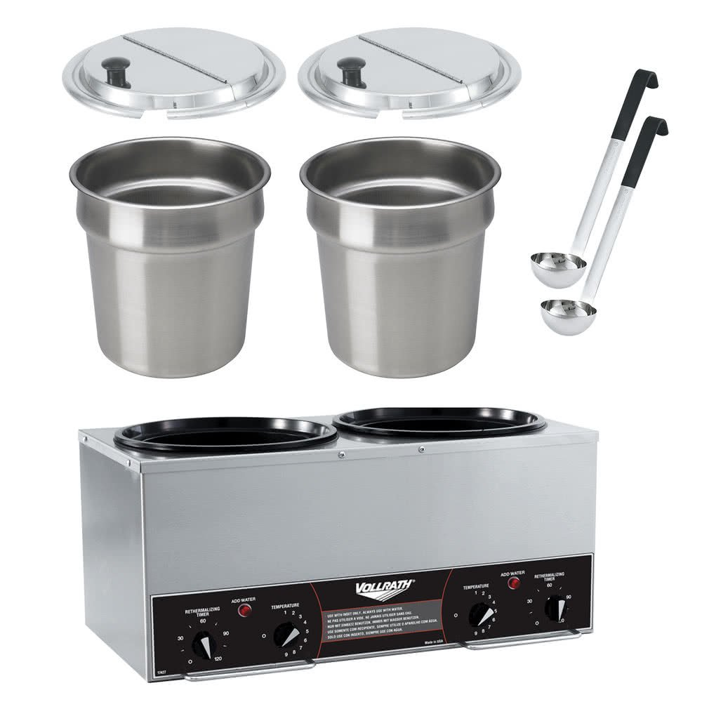 TableTop king 72029 Cayenne Twin Well 7 Qt. Rethermalizer / Warmer Package with Insets, Covers, and Ladles - 120V, 1400W
