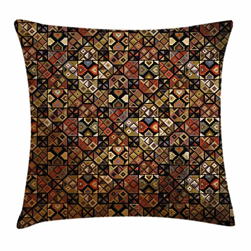 Lunarable Tribal Throw Pillow Cushion Cover, Aztec Traditional Folk Inca Pre-Columbian American Primitive Bohemian Ethnic Pattern, Decorative Square Accent Pillow Case, 24 X 24 Inches, Multicolor