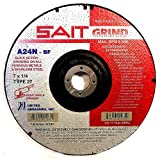 United Abrasives SAIT 20078 Type 27 A24N Grade 6-Inch x 1/4-Inch x 7/8-Inch Fast Depressed Center Grinding Wheels, 25-Pack