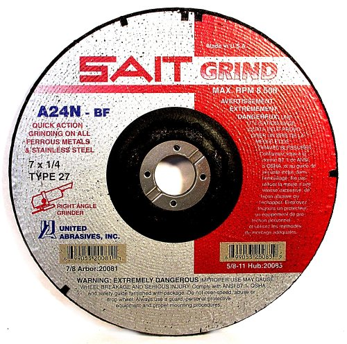 United Abrasives SAIT 20078 Type 27 A24N Grade 6-Inch x 1/4-Inch x 7/8-Inch Fast Depressed Center Grinding Wheels, 25-Pack by SAIT