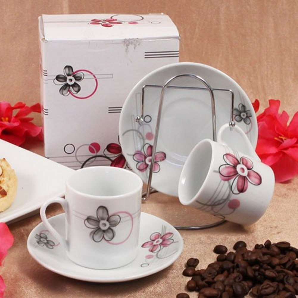 Floral Espresso Set of 2 Cups And 2 Saucers, With Rack - 72 Sets