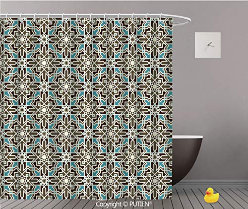 (PUTIEN Personalized Shower Curtain [ Brown and Blue,Arabesque Middle Eastern Inspired Moroccan Star Pattern Ornament,Taupe Pale Blue Brown ] Fabric Bathroom Decor Set with Hooks,72