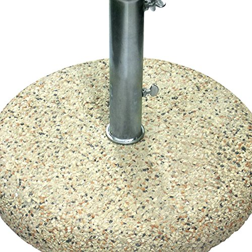 Base Per Ombrellone In Graniglia Fornita Con Tubo Zincato Ø 4, 2 Cm. Peso 25 Kg. Senza Maniglie. Spessore 8 Cm. Cementi Vibrati