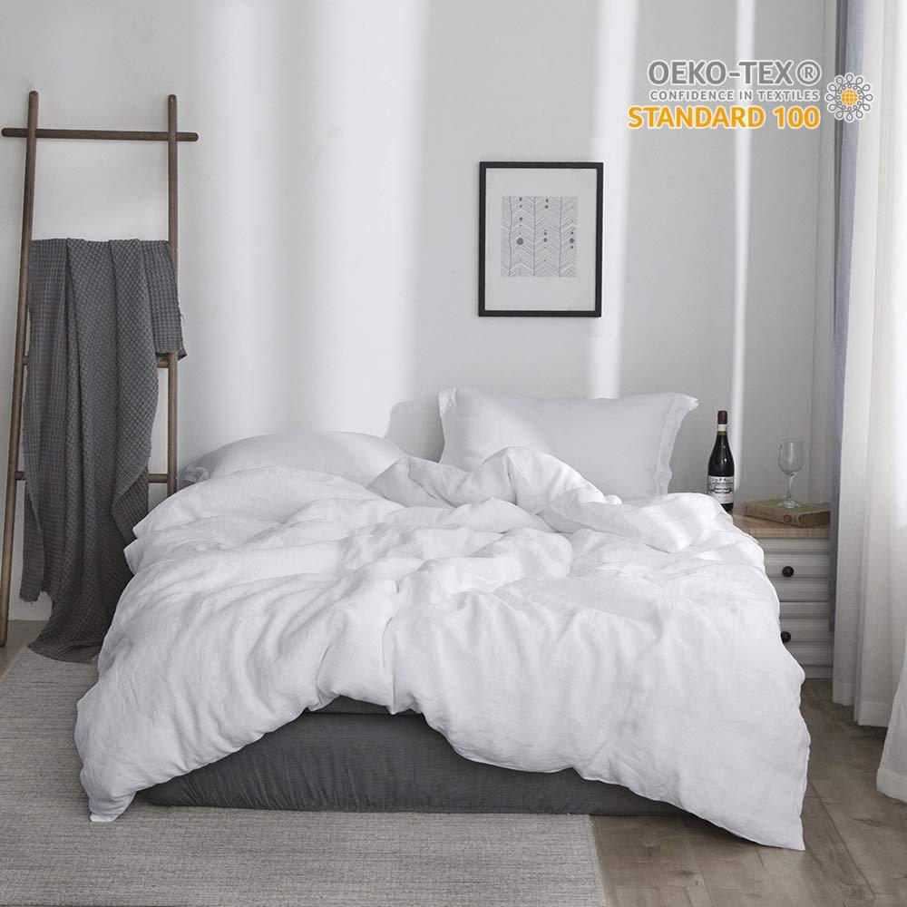 Simple&Opulence 100% Linen Stone Washed 3pcs Basic Style Solid Duvet Cover Set (King, White)