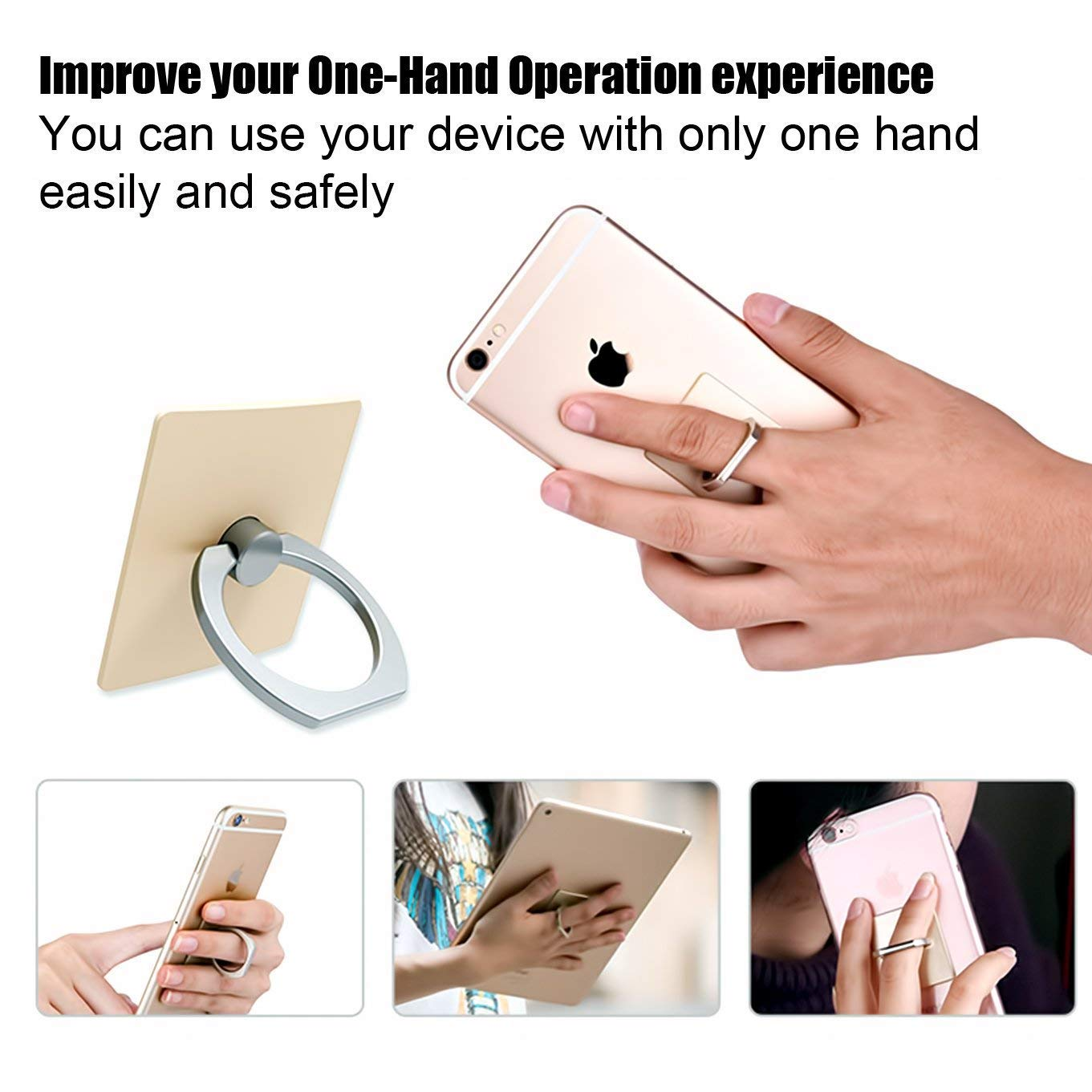 Black Cell Phone Finger Kickstand Loop Mount Stent 360 Degree Rotary Safe Hand Grip Compatible All iPhones Samsung Galaxy Android Pad Tablet