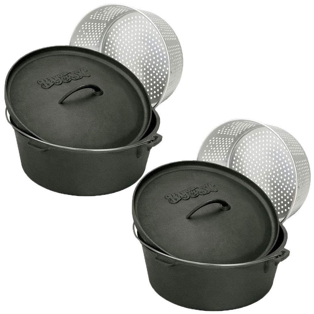 Bayou Classic 8.5 Quart Seasoned Cast Iron Dutch Oven Pot with Basket (2 Pack)