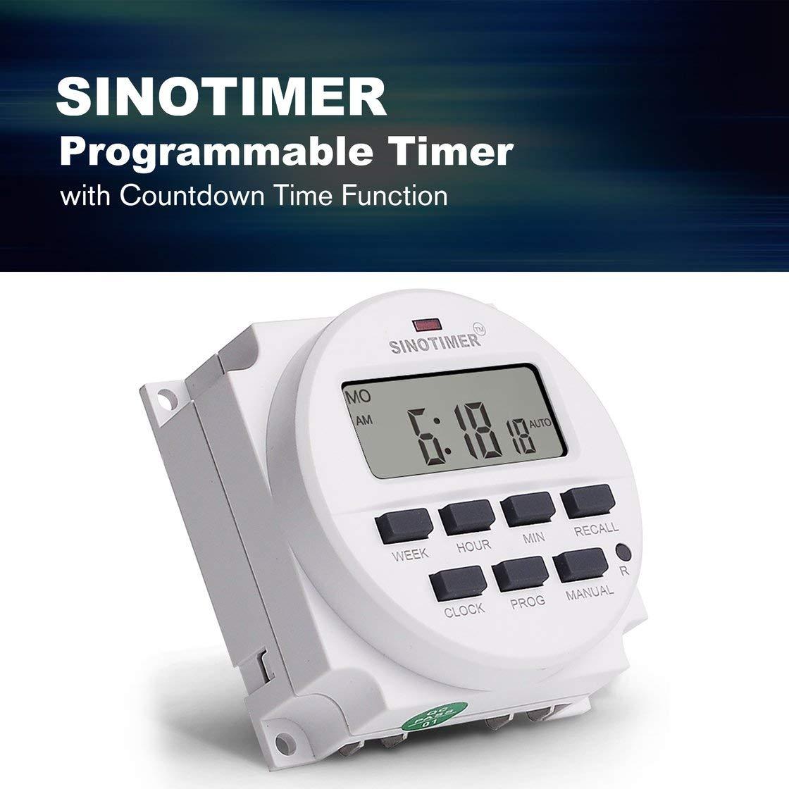 SINOTIMER TM618N-4 12V LCD Digital AC Programable Temporizador Interruptor con relé listado UL dentro con función de tiempo de cuenta regresiva: Amazon.es: ...