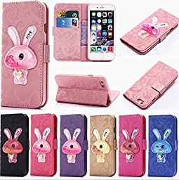 iPhone Se Case,Auroralove iPhone 5/5s Flowing Liquid Wallet Case 3D Cute Moving Star Glitter Rabbit PU Leather Credit Card Kickstand Cover for iPhone 5/5s-Purple