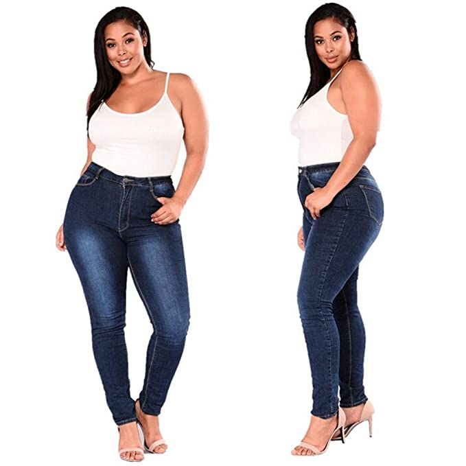 372522a4b50 Pervobs Women Pants, Big Promotion! Women Plus Size Stretch High Waist  Zipper Denim Jeans