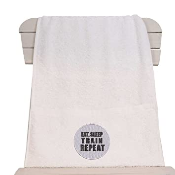 Towelsrus Toalla de gimnasio con cremallera, con la inscripción «Eat, Sleep, Train, Repeat», blanco: Amazon.es: Deportes y aire libre