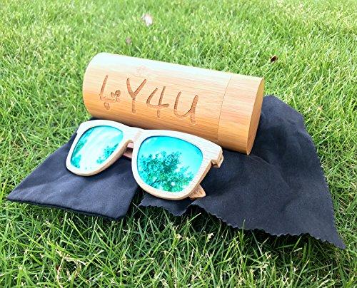 homme en Lunettes Lunettes bambou soleil Vintage avec de Lunettes de bois flottantes femme Vert et boîte en LY4U soleil pour UftYPWqqO