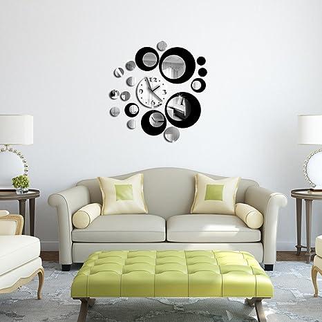 Webla - Reloj de pared adhesivo de cristal negro en tres ...