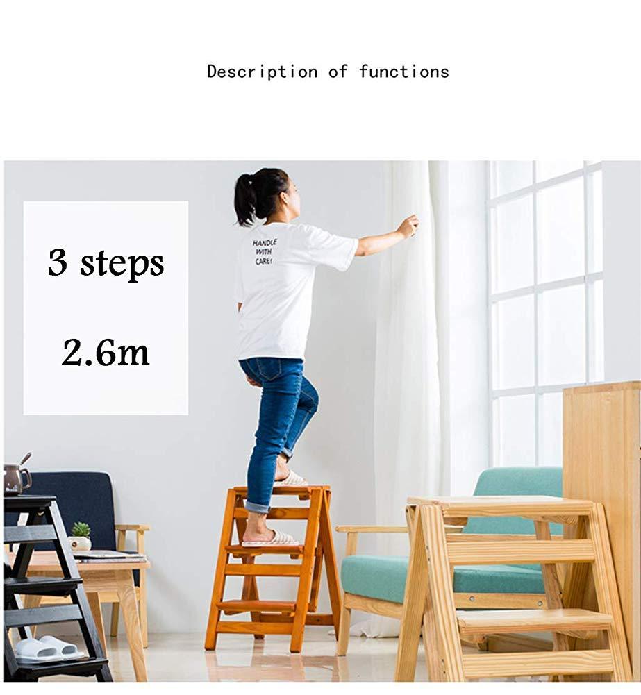 Farbe: Holzfarbe Family Library Praktische Kleine Leiter 4-Farben-Trittleiter T-Z Stilvolle Einfachheit Klappbarer Holz-Trittleiter Multifunktions-3-Stufen-Hocker