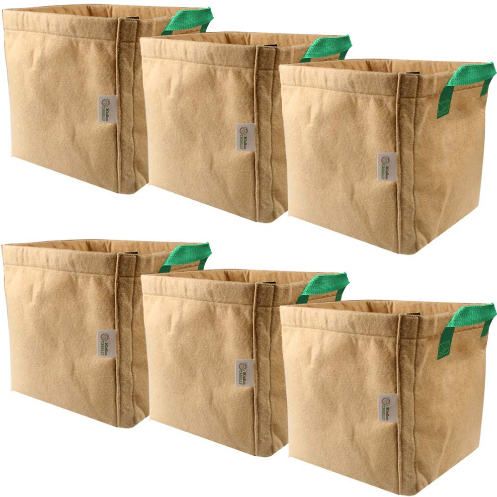 Casolly 3-Gallon 6-Pack Brown Fabric Grow Bags Velcro-Seamed with Green Handles