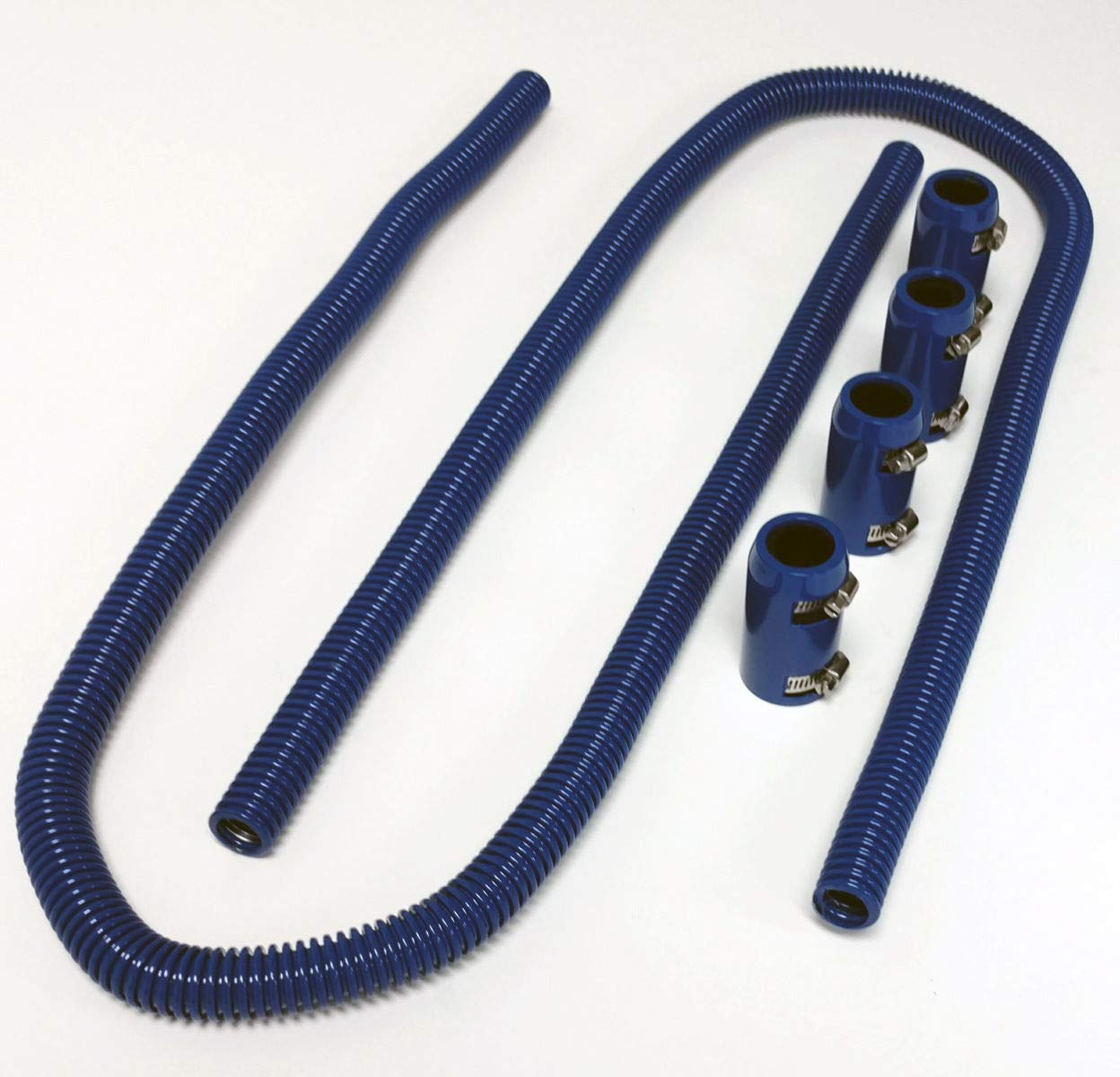 Pirate Mfg 44'' Blue Stainless Steel Heater Hose Kit w/Blue Aluminum End Caps by Pirate Mfg