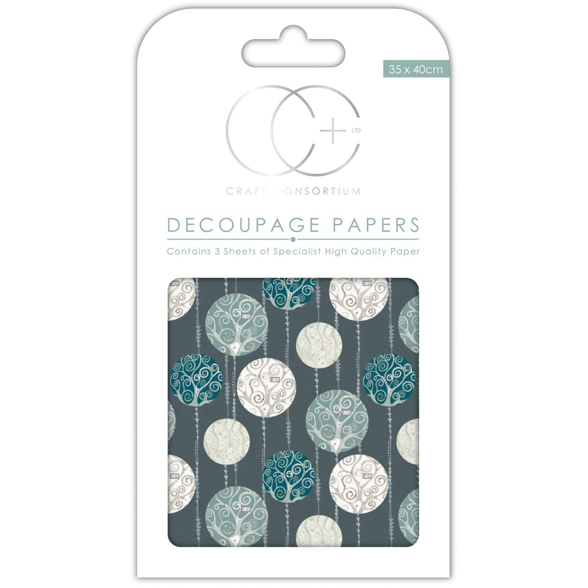13.75 x 15.75 3//Pack Craft Consortium Silver Baubles Decoupage Papers