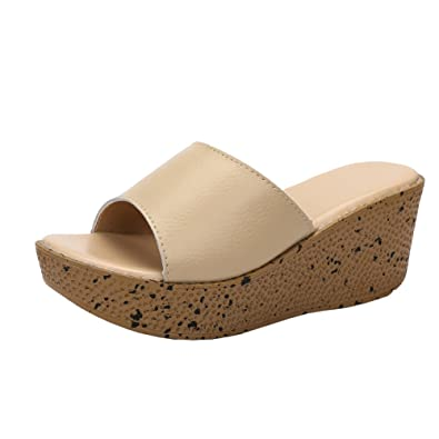 b65255f5eaa0 MAIERNISI JESSI Women Wedges Slides Platform Sandals Beige 33 - US 4