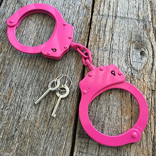 Professional Double Lock PINK Stainless Steel Police Handcuffs Real 220041-PK