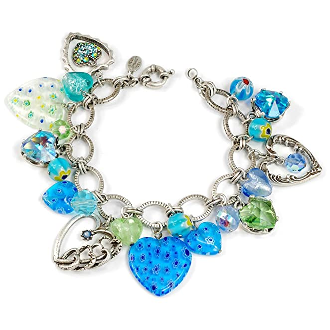 1950s Costume Jewelry  1950s Candy Glass Hearts Blues Charm Bracelet $59.00 AT vintagedancer.com
