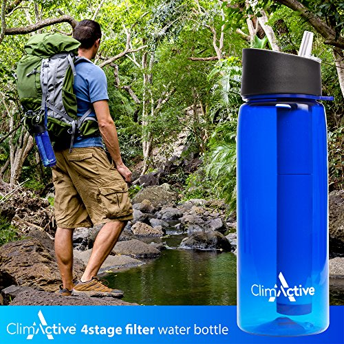 ClimActive Water Filter Bottle 2019 model with integrated 4-Stage Filter Straw and Compass