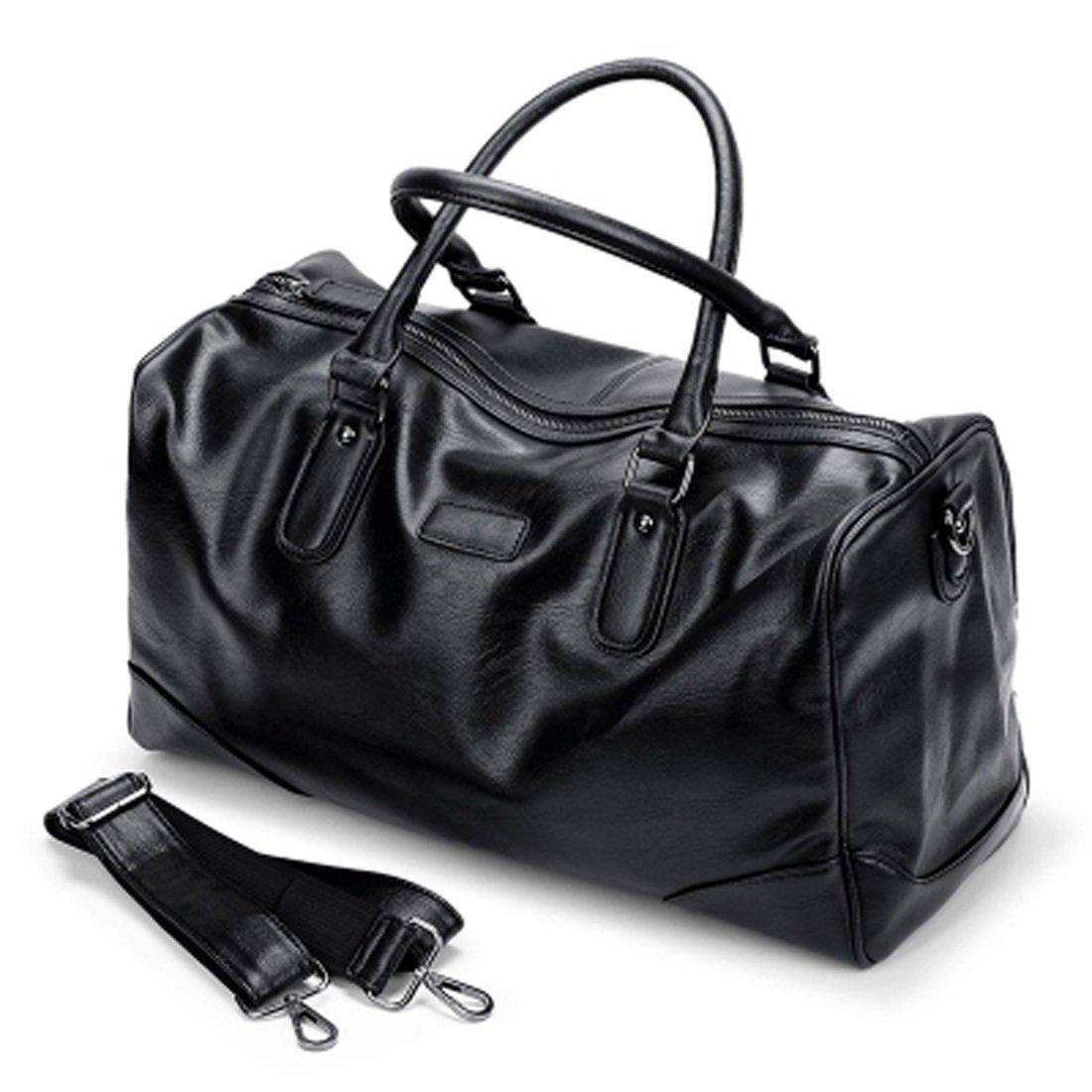 WTING Men's Pu Traveling Luggage Bag Black Handbagsolid Color Soft Solid Color