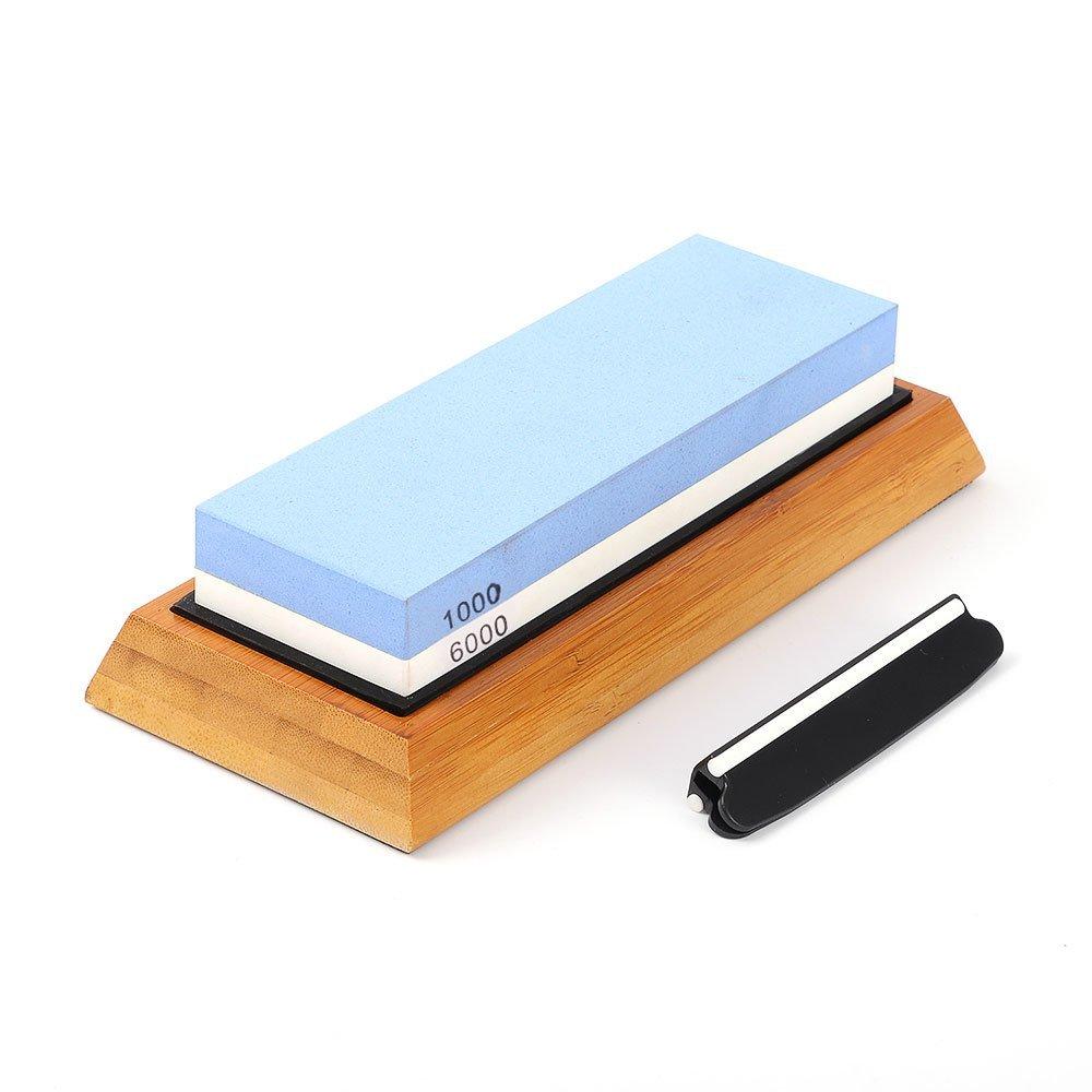 Premium Whetstone(White Corundum) 2 Sided Grit 1000/6000(Kitchen Blade Sharpening Stone with Slip-Resistant Silicone Base)|Best Knife Sharpener|Nonslip Bamboo Base & Angle Guide by Carzy potato