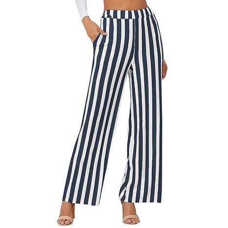 Amazon.com: Pantalones largos sueltos para mujer, cintura ...